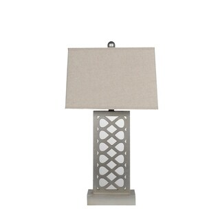 Privilege Grey Wood/Fabric Mirrored Table Lamp