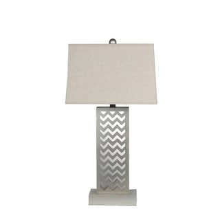 Privilege International Grey Wood Mirrored Table Lamp