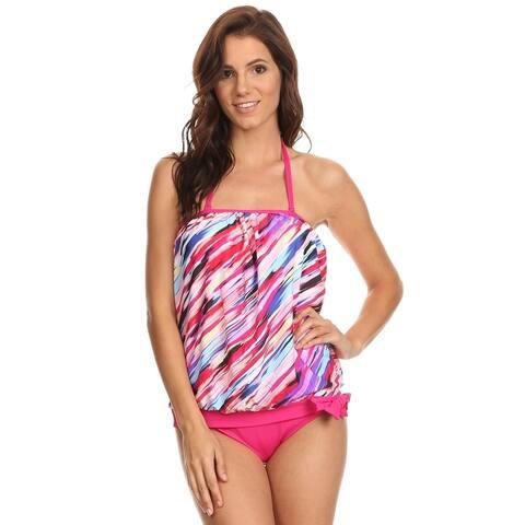 Women's Pink Nylon and Spandex Portrait Bandeau Blouson Tie Tankini Top