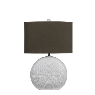 White/Brown Ceramic and Fabric Table Lamp