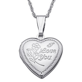 Kids 'I Love You' Engraved Heart Locket
