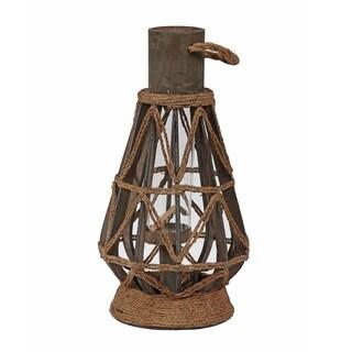 Privilege International Brown Metal Rope Medium Candle Lantern