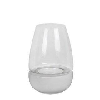 Privilege International White Ceramic Medium Candle Holder