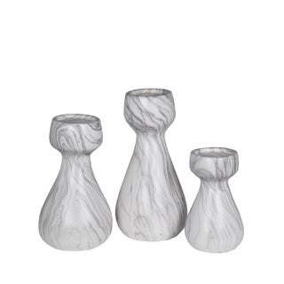 Privilege White Marble Candle Lanterns (Set of 3)