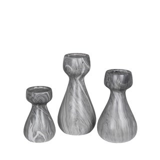 Privilege Gray Marble Candle Holders (Set of 3)