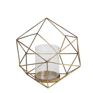 Privilege Gold Metal and Glass Geo Candle Holder
