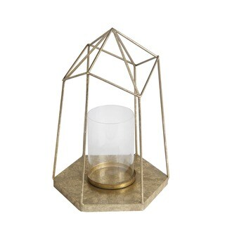 Privilege Gold Metal and Glass Large Candle Lantern