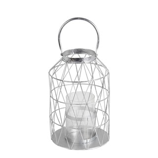 Privilege Silver-leaf Metal/Glass Small Candle Lantern