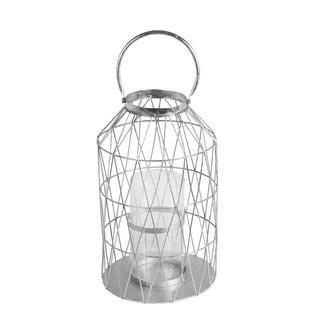 Privilege Silver-leaf Metal/Glass Large Candle Lantern