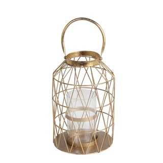 Privilege International Gold Leaf Metal/Glass Small Candle Lantern