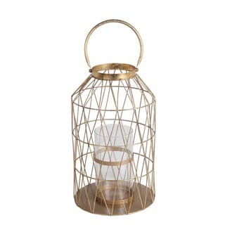 Privilege International Gold Leaf Metal/Glass Large Lantern