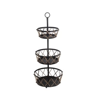 Privilege Black/Brown Metal 3-tier Rack