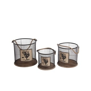 Privilege International Iron Round Baskets (Pack of 3)