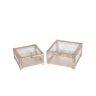 Privilege Champagne Silver and Glass 2-piece Square Boxes