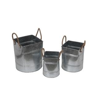 Privilege 3-piece Silver Rope Galvanized Buckets