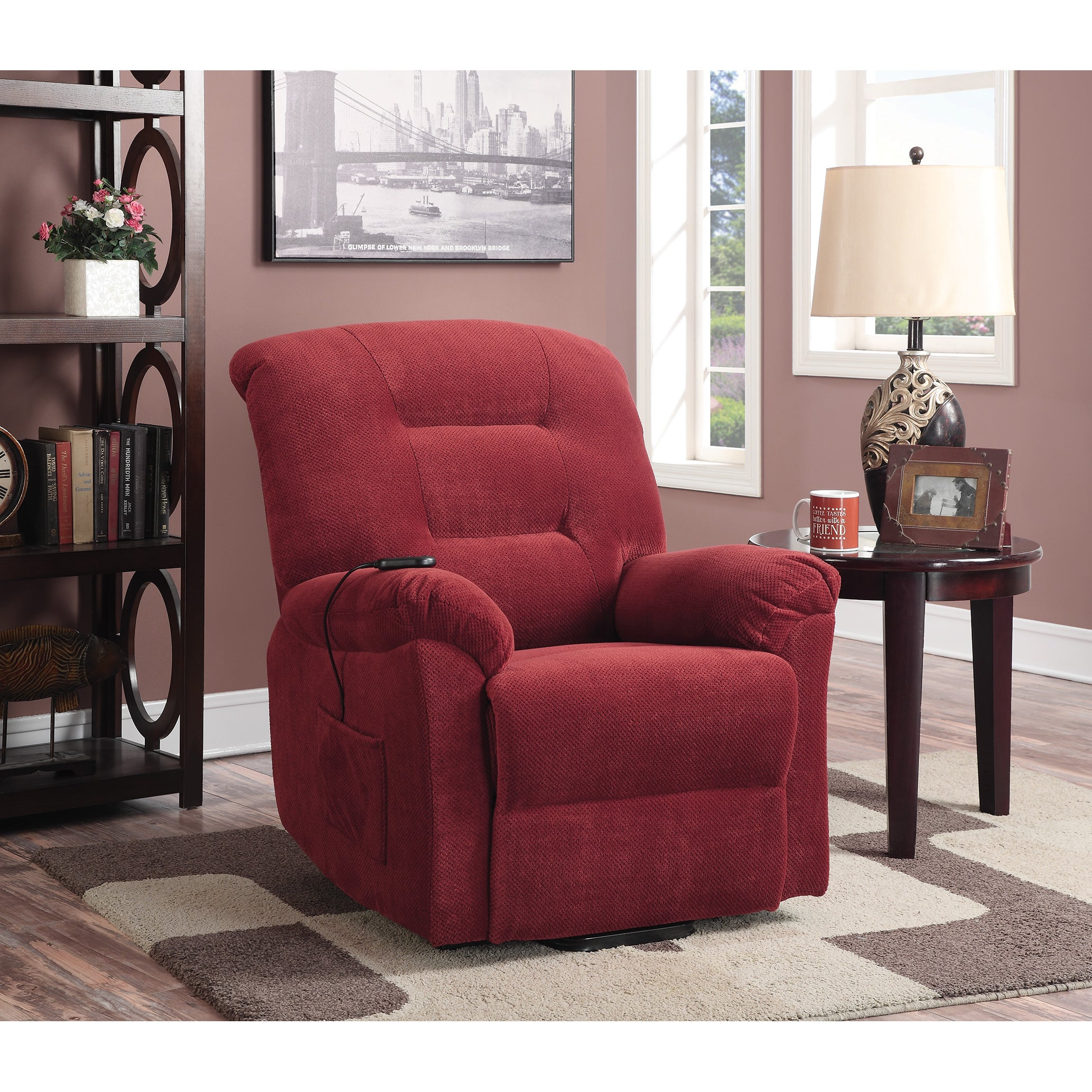 Coaster Furniture Red Power Lift Fabric Recliner (Brick R...