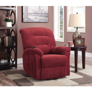 Red Power Lift Fabric Recliner