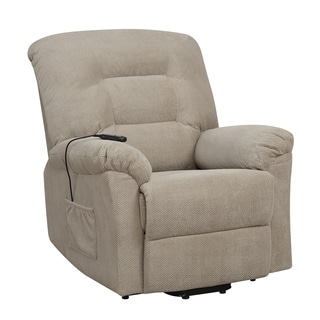 Off-White Textured Chenille Power Lift Recliner