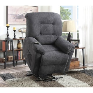 Coaster Company Grey Textured Chenille Power Lift Recliner