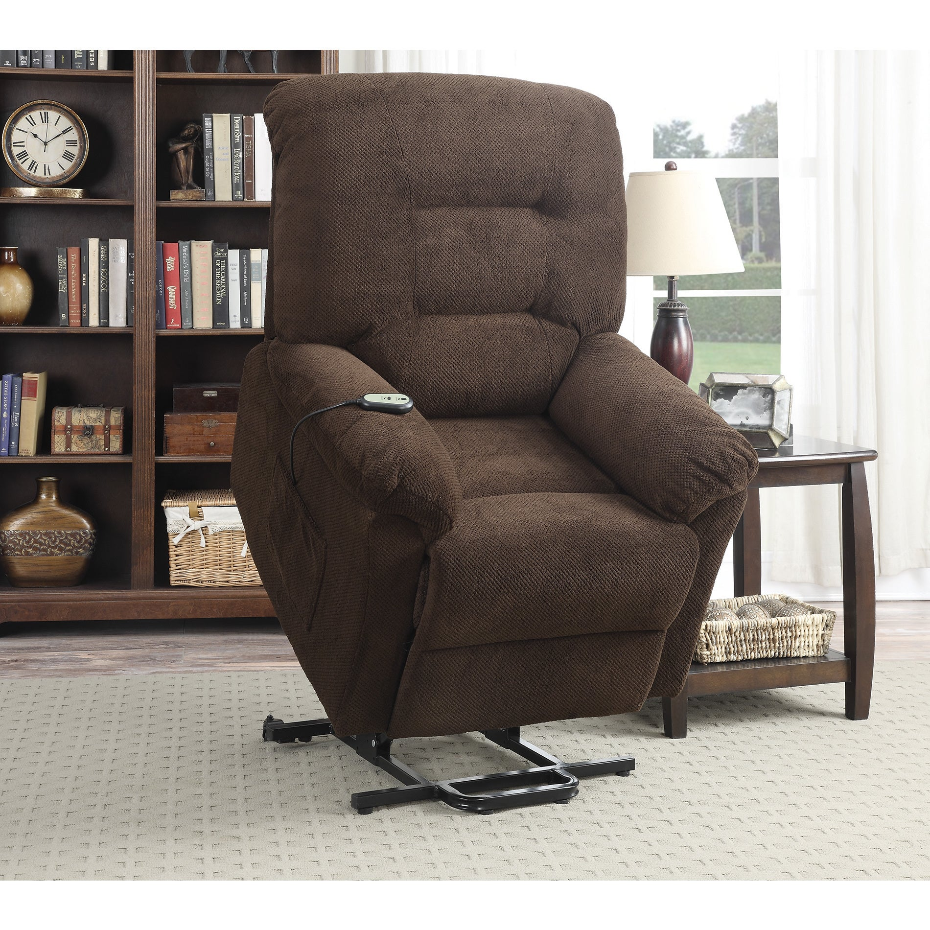 Coaster Furniture Chocolate Textured Chenille Power Lift ...