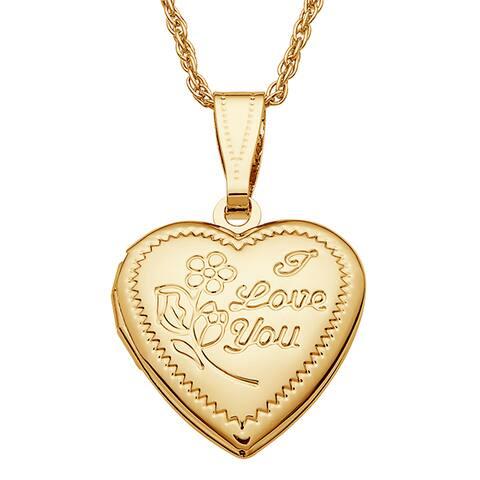 Kids Goldtone 'I Love You' Engraved Heart Locket