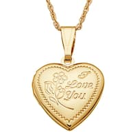 Kids Goldtone 'I Love You' Engraved Heart Locket