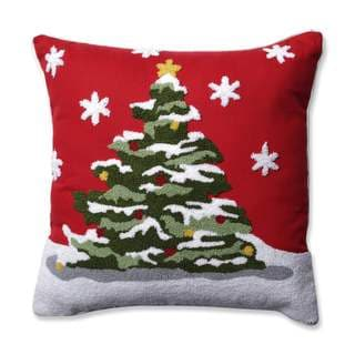 Pillow Perfect Flocked Tree Red 16.5-inch Throw Pillow