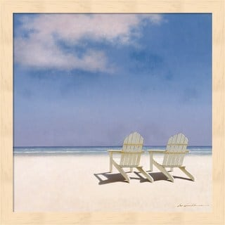 Zhen-Huan Lu 'Beach Chairs' Multicolored Wood Framed Art