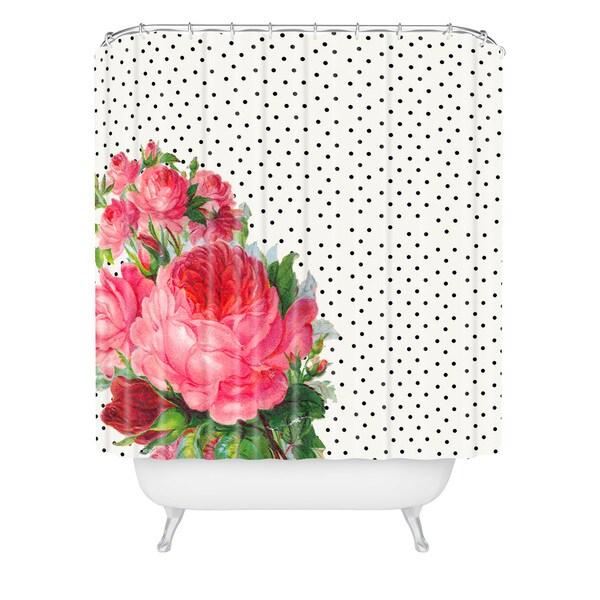 Allyson Johnson Floral Polka Dots Shower Curtain