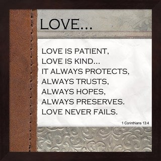 Unknown 'Love is Patient, Love is Kind' Black Mahogany Frame Wall Art