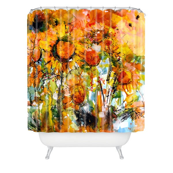 Ginette Fine Art Abstract Sunflowers Shower Curtain