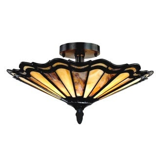 Link to Tiffany Style Mission Design 2-light Antique Bronze Semi Flush Mount Similar Items in Pendant Lights