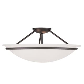 Livex Lighting Newburgh Steel and Alabaster Glass 3-light Ceiling Mount