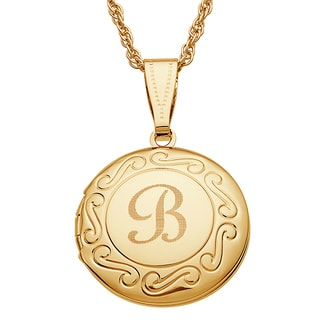 Kids Goldtone Round Swirl Engraved Locket