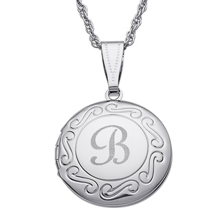 Kids Silvertone Round Swirl Engraved Locket