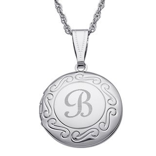 Kids Silvertone Round Swirl Engraved Locket (More options available)