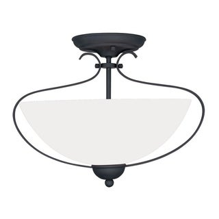 Livex Lighting Brookside Collection Steel and Frosted Glass 2-light Ceiling Mount