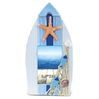 Nautical Decor Light Blue Stripes Boat Frame