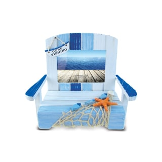 Nautical Decor Light Blue Stripes Chair Frame