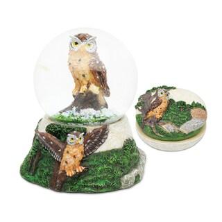 Owl Resin Stone Finish Jewelry Box and Snow Globe