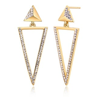 Peermont Jewelry Gold Plated Crystal Double Triangle Drop Earrings