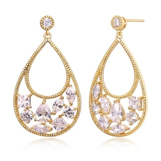 Peermont Jewelry Gold and Crystals Teardrop Drop Earrings