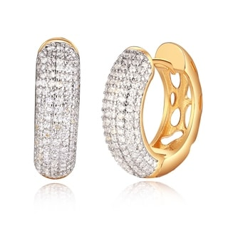 18k Gold Overlay and Crystal Circle Cutout Huggie Earrings