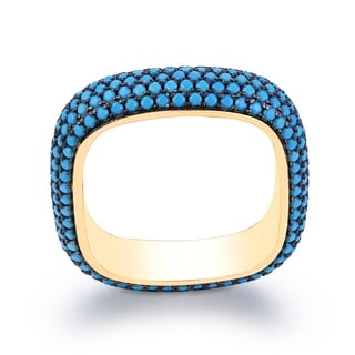18K Gold Plated & Genuine Turquoise Square Ring