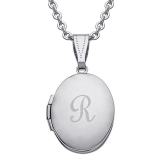 Kids Silvertone Oval Engraved Locket