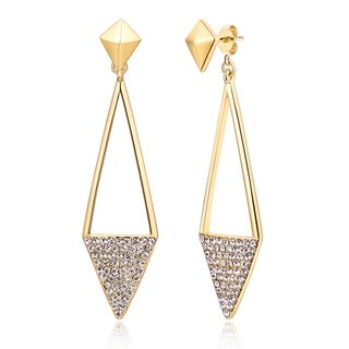 Peermont Jewelry Goldplated Crystal Triangle Drop Earrings