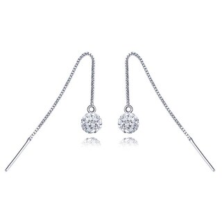 Rhodium Plated Ball Earrings