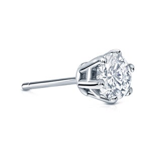 Auriya 14k Gold 3/4ct TDW Round-Cut Diamond 6-Prong Push-Back Single Stud Earring (H-I, SI1-SI2)