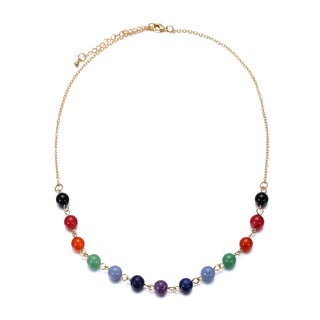14k Gold Multi-Stone Chain Necklace