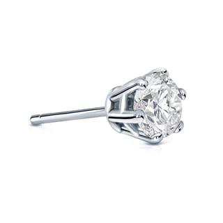 Auriya 14k Gold 3/4ct TDW Round-Cut Diamond 6-Prong Push-Back Single Stud Earring (I-J, SI2-SI3)